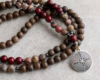 Labyrinth Mala - Leopardskin & Ruby Jade Mala Necklace - Centering - Clarity - Yoga Necklace - Item # 818