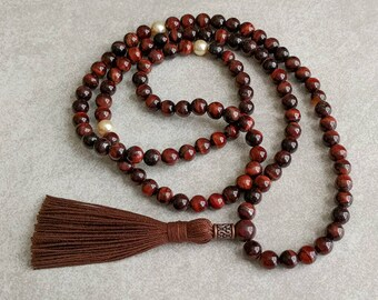 Red Tiger Eye Mala Beads with Swarovski Pearls - Motivation - Confidence - Self Esteem - Meditation Necklace - Item # 808