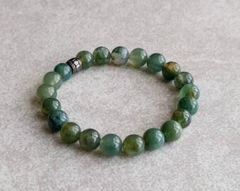 Moss Agate Bracelet - Gemstone Bracelet - Wrist Mala - Earthy - Green - Yoga Bracelet - Item # 355