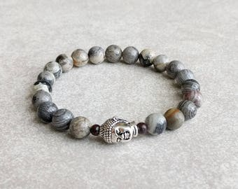 Buddha Bracelet - Silver Leaf Jasper Gemstone Bracelet - Mens Bracelet - Mindful Bracelet - Buddhist Bracelet - Item 343