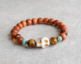 Skull Bracelet - Protection, Strength, Survival - Yoga Bracelet - Unisex Bracelet Item # 336