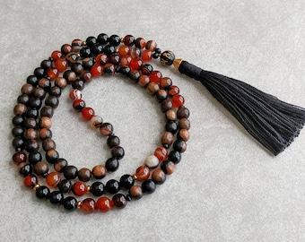 Mala Necklace - Om Mani Padme Hum - Mantra Beads - Ebony Wood, Agate & Black Onyx - Yoga Necklace - Item # 719