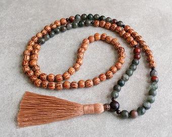 108 Mala Necklace - Palmwood with Bloodstone - Centering & Grounding - Meditation Beads - Item # 901