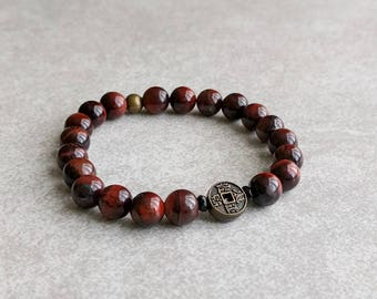 Chinese Coin Bracelet with Red Tigerseye - Lucky Bracelet - Grounding - Prosperity - Gemstone Bracelet - Men/Unisex - Item 346