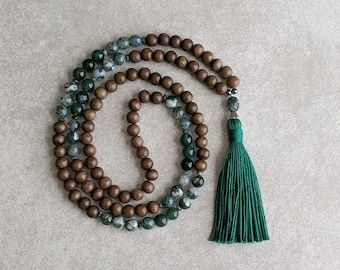 Mala Necklace - Tree Agate with Moss Agate and Gray Wood - Meditation Beads - Energy Jewelry - Perseverance & Strength - Item # 961