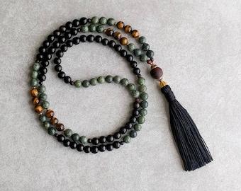 Tigers Eye Mala with Serpentine & Bodhi Seed - Mala Beads - Grounding - 108 Prayer Beads - Daily Meditation - Mindfulness - Item #966