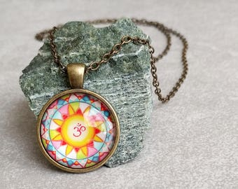 Mandala Necklace - Art Pendant - Ohm Symbol - Namaste - Antiqued Brass with Link Chain Necklace Included - Yoga Gifts - Gifts For Her