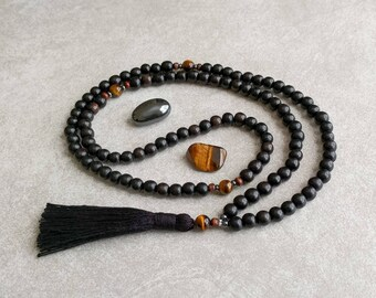 Mala Beads - Ebony Wood with Tigers Eye - Meditation Necklace - Prayer Beads - Men's Mala - Item # 976