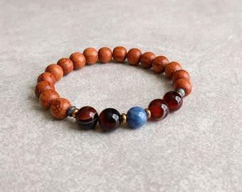 Energy Bracelet  - Sodalite/Agate/Bayong Wood - Beaded Bracelet - Mala Bracelet - Yoga Bracelet - Wrist Mala - Meditation Bracelet Item #396