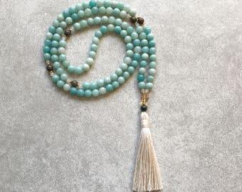 Amazonite Mala Beads - Creativity & Patience - Meditation Neckalce - Yoga 108 Mala - Blue/White - Item # 801