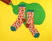 Stone Steps Orange Unisex Crew Socks | mens socks | womens socks | colorful fun & comfortable socks