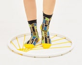 Stained Glass Black Transparent Sheer Socks | see-through socks | womens socks | colorful fun & comfortable socks