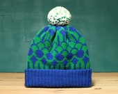 Blue Fountain Detachable Pom Pom Beanie Hat | for men | for women | colorful & cozy | handmade customized gift