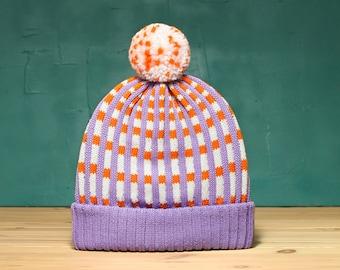 Checked Stripes Detachable PomPom Beanie Hat | for men | for women | colorful & cozy | handmade unisex gift