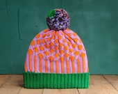 Diamond Lilac Detachable Pom Pom Beanie Hat   for men   for women   colorful & cozy   handmade customized gift