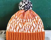 Map Cracking Detachable Pom Pom Beanie Hat   for men   for women   colorful & cozy   handmade customized gift