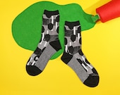 Zen Garden Black Unisex Crew Socks | mens socks | womens socks | colorful fun & comfortable socks