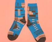 Parkhaus Blue Unisex Crew Socks | mens socks |  womens socks | colorful fun & comfortable socks