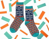 Windows Indigo Unisex Crew Socks | mens socks |  womens socks | colorful fun & comfortable socks