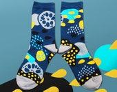 Pond Navy Unisex Crew Socks | mens socks | womens socks | colorful fun & comfortable socks