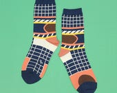 Silo Navy Unisex Crew Socks | mens socks |  womens socks | colorful fun & comfortable socks