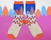 Path Blue Unisex Crew Socks | mens socks |  womens socks | colorful fun & comfortable socks