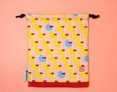 Parallel Pink Lined Digital Printed Drawstring Pouch Bag | Sock bag | Goodie bag | Wash bag | Gift bag | Cosmetic bag
