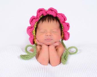 Crochet Newborn Flower Bonnet