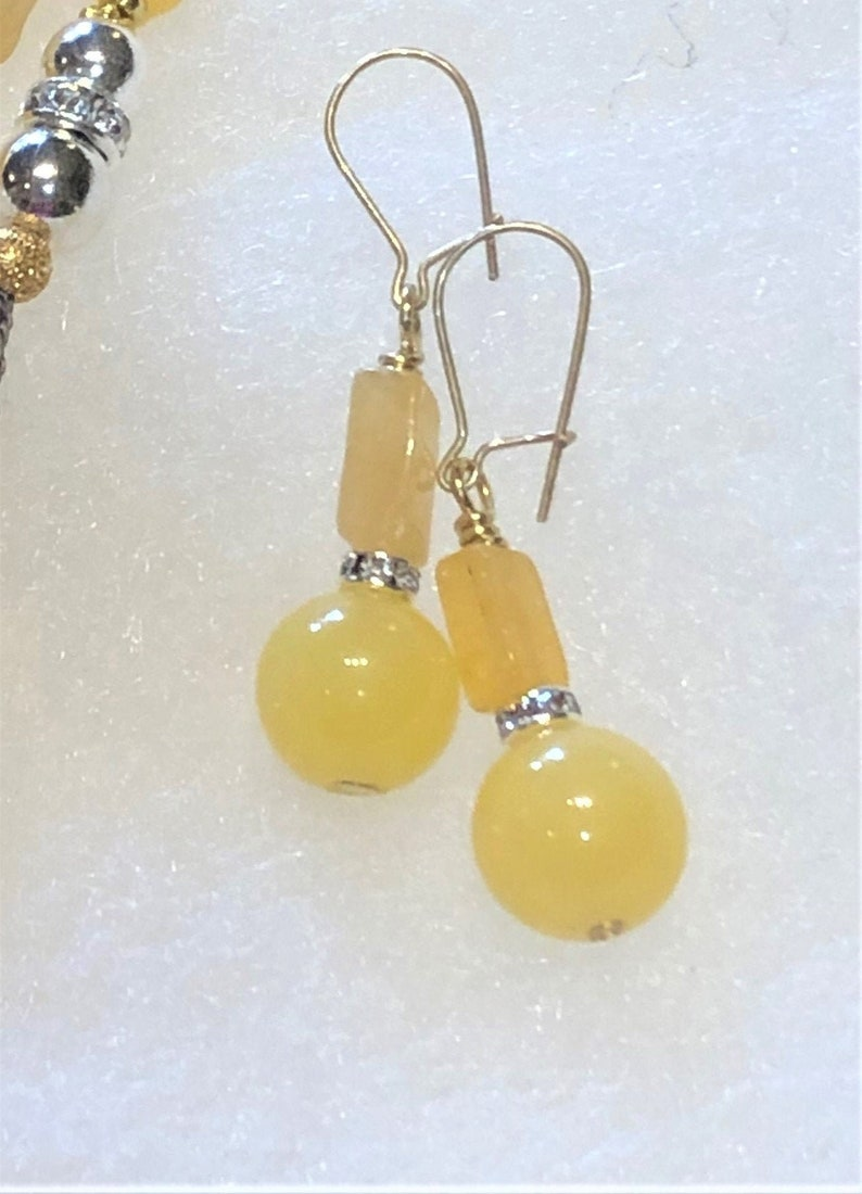 14 K gold filled drop dangle earrings for Her@IndigoLayne Yellow Jade drops with natural Citrines
