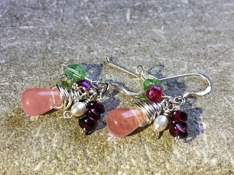 earrings under 40 Pearl Pink Green Silver Garnet for Her 925 Sterling Semi Precious Stones Cluster Earrings @ IndigoLayne Peridot