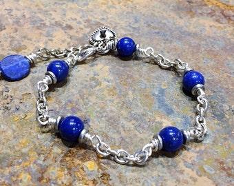"Lapis Lazuli Bracelet/Wire Wrapped Stone Link/Semi Precious Gem/Birthstone Taurus/7"" Wrist/Gifts under 50/@IndigoLayne"
