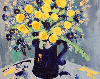 ORIGINAL impasto painting, Still Life, Floral Wall Art, blue and yellow, Impressionistic,  Flowers in Pitcher, Trollius