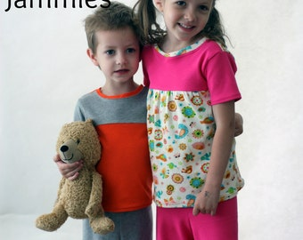 Jean & Jamey Jammies PDF Pattern, Sizes 12 month to 12 years