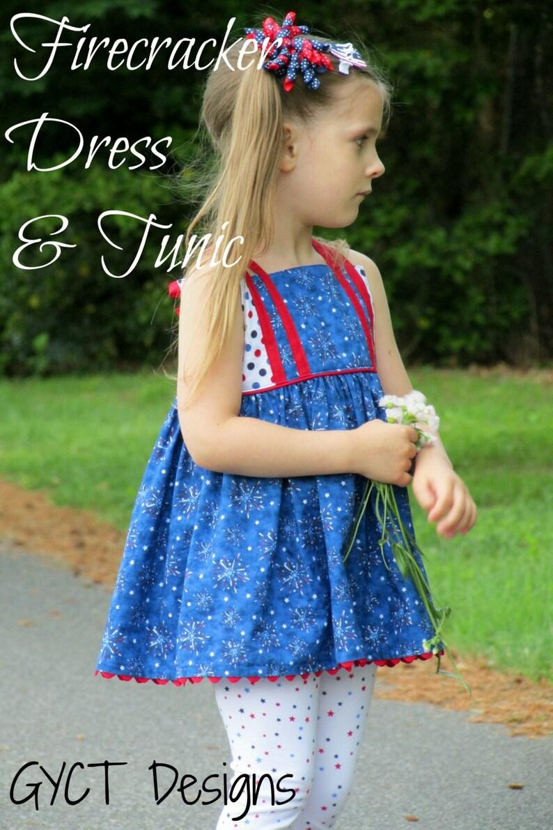 Firecracker Dress and Tunic PDF Sewing Pattern  Girls Dress image 0