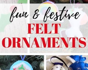 Fun & Festive Felt Ornaments eBook | Felt Ornament Patterns |