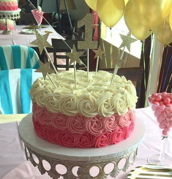 7 Piece GOLD or SILVER Star Birthday Cake Topper Smash Cake   Etsy