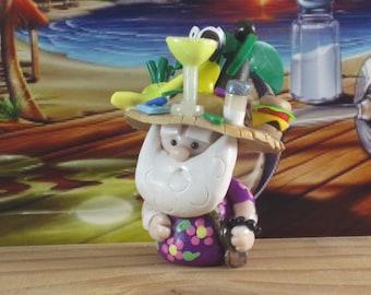 Parrothead Jimmy Buffett Fan Gnome for Fairy Garden, Cake Topper, OOAK handmade miniature