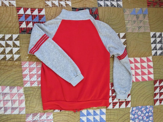 70s Zip Up Sweatshirt Warm Up Jogger Two Tone Red… - image 7
