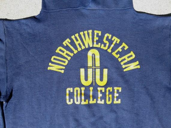 L 70s Northwestern College Hoodie Navy Blue Hoode… - image 7
