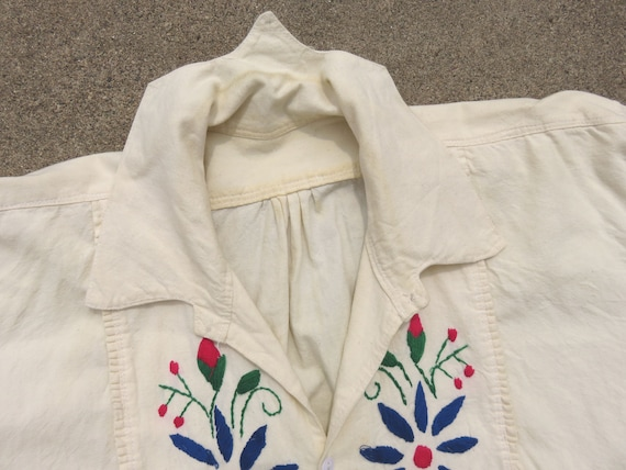 40s Hungarian Folk Hand Embroidered Pullover Top … - image 5