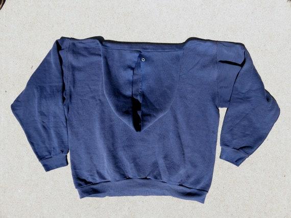L 70s Northwestern College Hoodie Navy Blue Hoode… - image 3