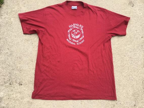 80s Maroon Harvard Microbial Ecology T-Shirt, Med… - image 1