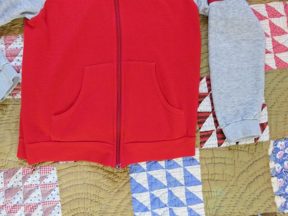 70s Zip Up Sweatshirt Warm Up Jogger Two Tone Red… - image 6