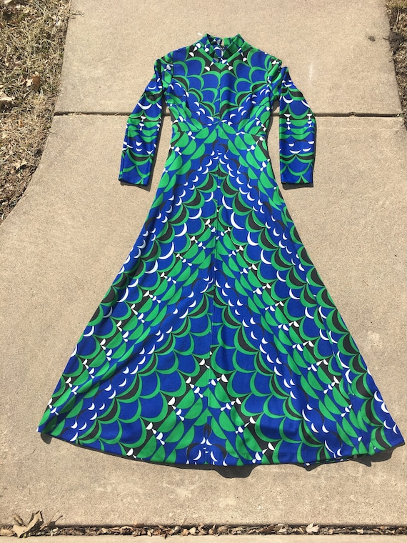 "Psychedelic Print Handmade Maxi Dress SMALL 27"" Mo"