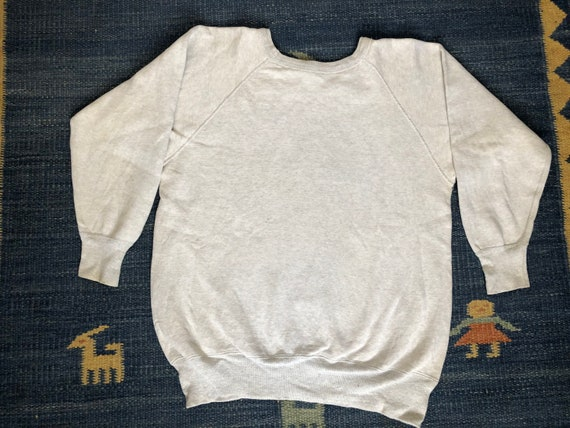 L 50s Cotton Sweatshirt Heather Gray Raglan Sleeve