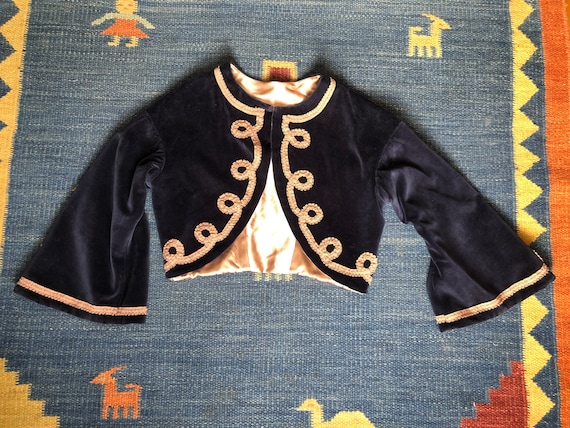30s Navy Blue Velvet Bell Sleeve Bolero with Lace