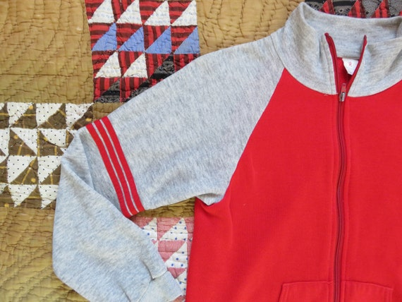 70s Zip Up Sweatshirt Warm Up Jogger Two Tone Red… - image 3