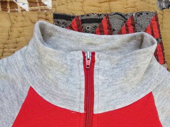 70s Zip Up Sweatshirt Warm Up Jogger Two Tone Red… - image 4