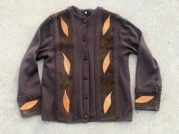 Vintage 50s Knit Cardigan Suede Panels Suede Appli