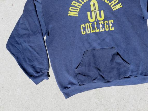 L 70s Northwestern College Hoodie Navy Blue Hoode… - image 8